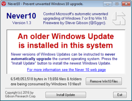 Never10 prevent win 10 install